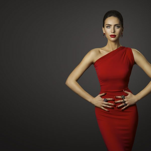 Fashion Model Red Dress, Elegant Woman in Sexy Evening Gown, Beautiful Girl on Black Background